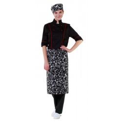 Фартук шеф-повара поварёшки и кастрюли на чёрном фоне [00300]  - интернет-магазин КленМаркет.ру