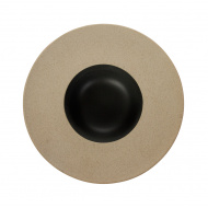 Тарелка для пасты «Corone» 230 мм бежевая с черным