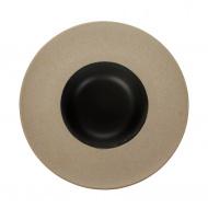 Тарелка для пасты «Corone» 252 мм бежевая с черным