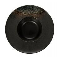 Тарелка для пасты «Corone» 252 мм черная с зеленым
