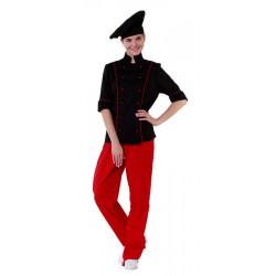 Куртка шеф-повара черная женская с манжетом (отделка красный кант) [00016] - интернет-магазин КленМаркет.ру