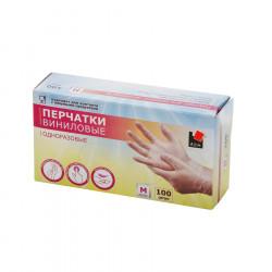 Перчатки виниловые одноразовые 100 шт размер M - интернет-магазин КленМаркет.ру