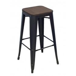 Стул барный «TOLIX с патиной» с деревянным сиденьем (стальной каркас) - интернет-магазин КленМаркет.ру
