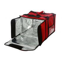 Термосумка на 5-6 пицц 420х420х300 мм фольгированная большая красная с вентиляцией