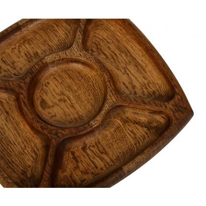 Менажница деревянная 5 отделений 245х245 мм дуб  - интернет-магазин КленМаркет.ру