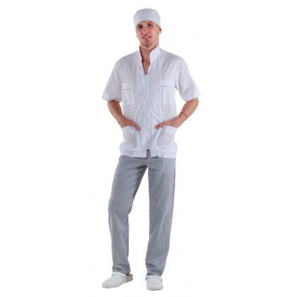 Куртка мужская короткий рукав белая [0173] - интернет-магазин КленМаркет.ру