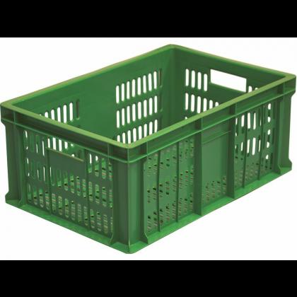 Ящик 600х400х250 мм перфорированные бока и дно, колбасный, ПЭНД [ЯК-253] - интернет-магазин КленМаркет.ру