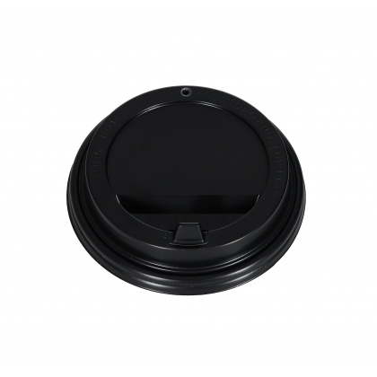 Крышка одноразовая для стакана с закрытым питейником 100 шт черная [ОП-091015]  - интернет-магазин КленМаркет.ру